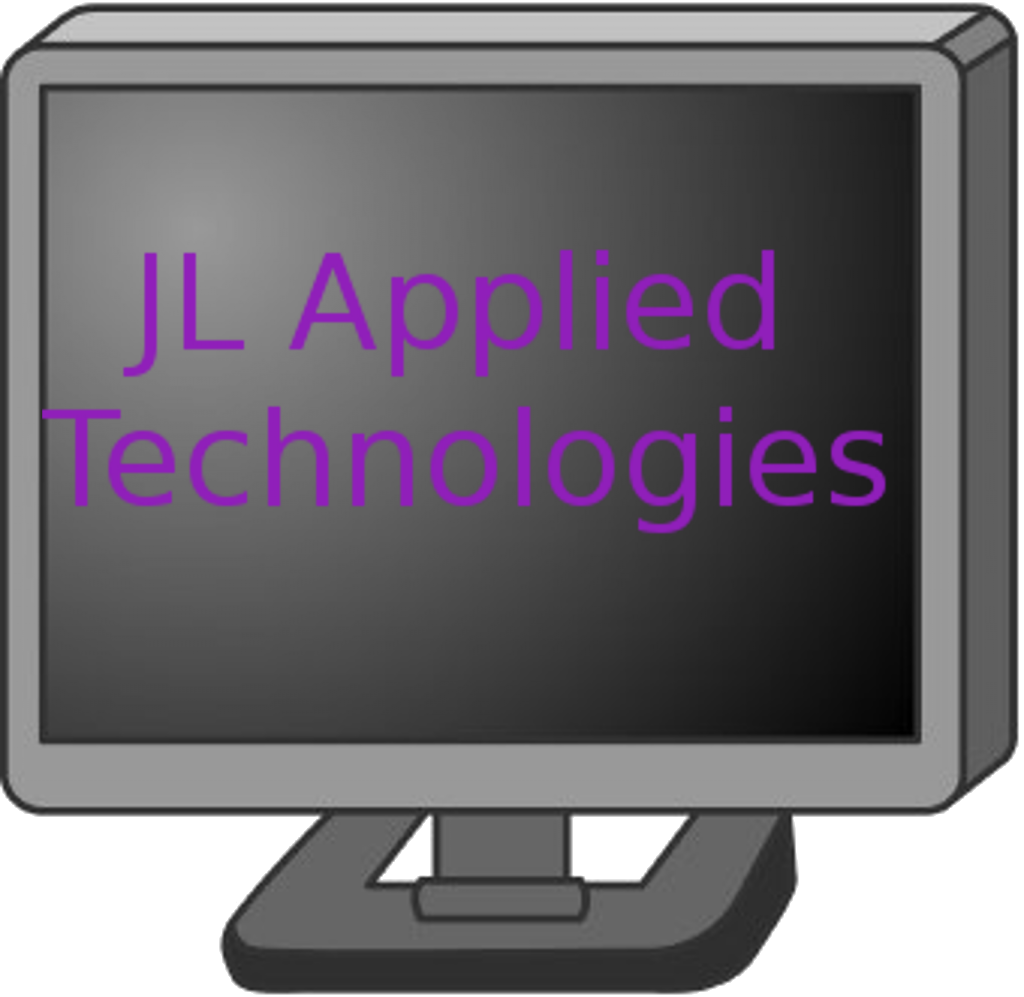 "JL Applied Technologies Logo: A gray computer monitor with the words ""JL Applied Technologies"" written across the display in purple"